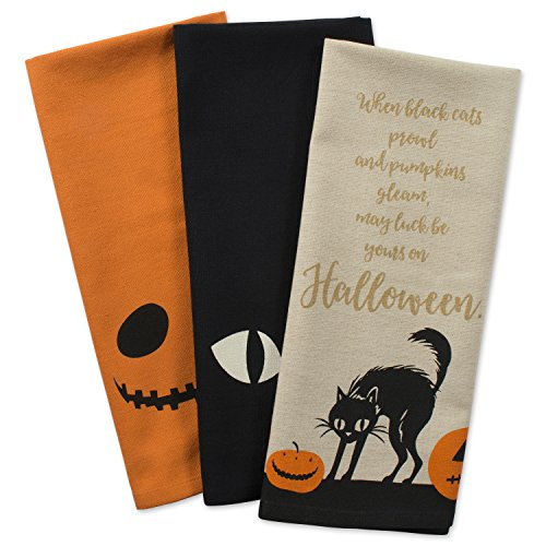 DII 100% Cotton, Oversized Decorative Halloween Holiday Printed Dish Towels, 18x28
