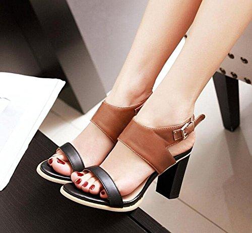 degli Shoes forma a delle punta donne sandali Brown talloni con aperta fibbia Court Lady alti Pompa di PY0qZw