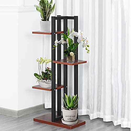 Plant Stand 4 Tier 47.2in Art Flower Pot Holder Rack Planter Metal Wood Potted Plant Stand Supports Decorative Pots Containers Stand Garden Balcony Patio Living Room
