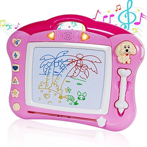 Toch Magnetic Drawing Board, Musical Color Magna Doodle Writing Drawing Board with Light and Music Great Gift For Boys And Girls 3+, Pink With -