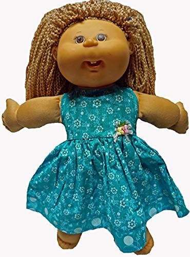 Doll Clothes Superstore Sea Green Floral Dress Fits Cabbage Patch Kid Dolls