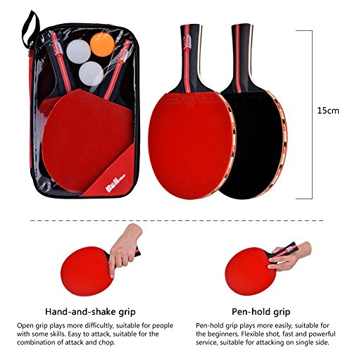 Dioche Boliprince Ping Pong Paddles, 2-Player Table Tennis Racket Set with Carrying Bag and 3 Balls for Shake-Hand Grip Players by Dioche (Image #3)