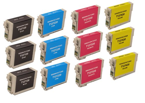 12 Pack Remanufactured Inkjet Cartridges for Epson T127 #127 T127120 T127220 T127320 T127420 Compatible With Epson Stylus NX530, Stylus NX625, WF-7010, WF-7510, WF-7520, WorkForce 545, WorkForce 60, WorkForce 630, WorkForce 633, WorkForce 635, Workforce 6