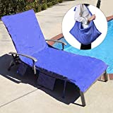 KING DO WAY Lounge Chair Beach Towel Cover Microfiber Pool Lounge Chair Cover with Pockets Holidays Sunbathing Quick Drying Terry Towels Blue 82.5''x27.5''
