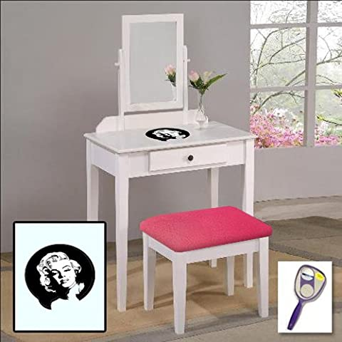 New Bob Marley Themed White Finish Make Up Vanity Set with Adjustable Mirror and Bench with your choice of seat cushion theme! Also includes free hand & purse (Marilyn Monroe Bedroom Theme)