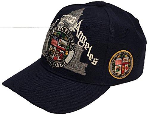 Los Angeles City Script Hat Navy Ball Cap ()