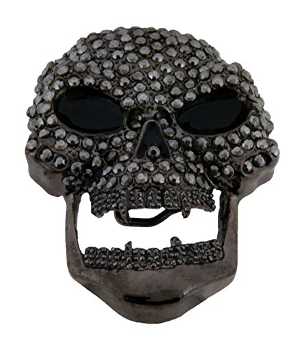 Skull Bling Iced Out Hip Unisex Crystals Rhinestones Men's Women's Belt Buckle. (Skull Stiff Bling Gun Metal Size: 4.00