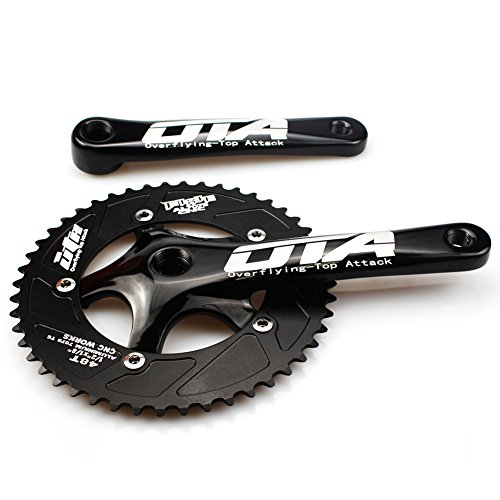 FOMTOR Fixie Crankset 48T Single Speed Fixed Gear Track Bicycle Crankset Fixie Crank Set 130mm BCD