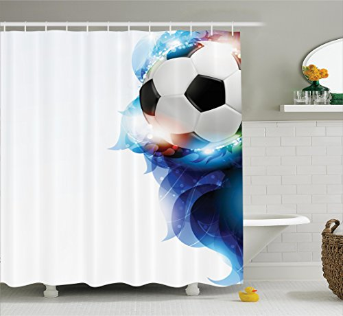 Ambesonne Sports Decor Shower Curtain Set, Soccer Ball Surrounded by Art Graphic Inspirational Petals Football Game Theme, Bathroom Accessories, 75 inches Long, Dark Blue White and Black