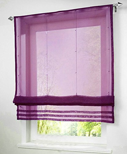1pcs Solid Roman Shades Voile Ribbon Adjustable Rod Pocket Balcony Window Curtain Panels for Living Room Decor Decorative (Roman Shades Purple)