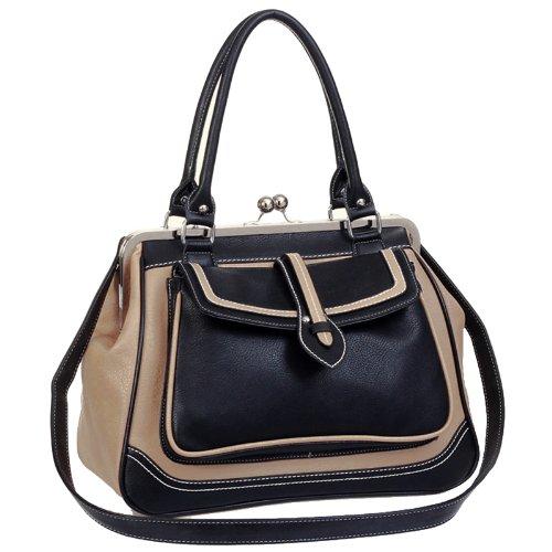 AUBREY Black / Beige Vintage-like Doctor Style Clasp Double Handle Satchel Tote Bowler Handbag Purse Daybag Shoulder Bag, Bags Central