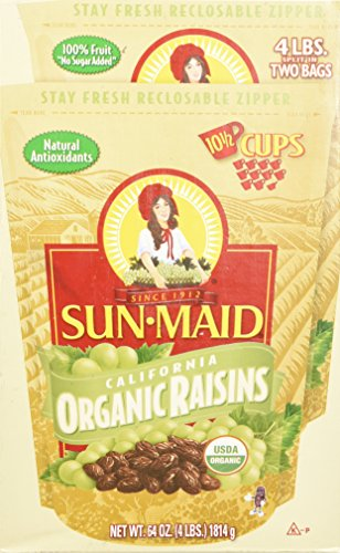 Sun Maid Organic Raisins, 64 Ounce, 2 Pack