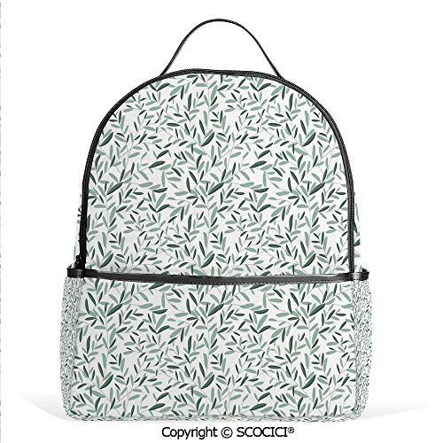 All Over Printed Backpack Olive Branches with Leaves Classic Elegance Simple Soft Spring,Green Almond Green,For Girls Cute Elementary School Bookbags ()