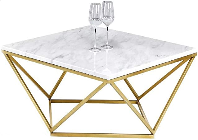 Square Cocktail Table Contemporary Marble Coffee Table White