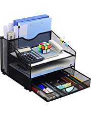 $27 » Desk Organzier Mesh Office Supplies Organization with Drawer File Accessories Storage Workspace with 4 Compartments for Women Home Desktop Paper Pen Shelf