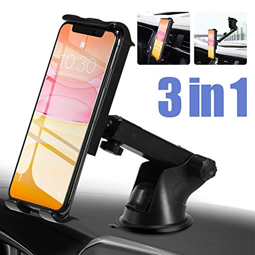 PaiTree 3 in 1 Car Phone Mount for Dashboard Air Vent Windshield Super Strong Suction Cell Phone Holder for Car 360°Rotation Car Phone Holder for iPhone 11/11 pro/11 pro max/Xs Max/XS/XR/XP/Galaxy S1
