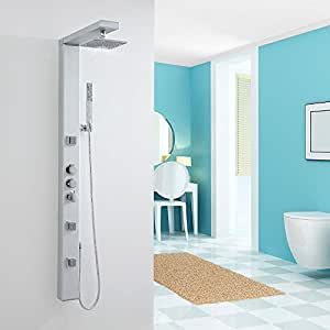 "Hudson Reed Thermostatic Shower Panel Tower System - Slim Design - Multifunction Spa Column With 7"" Rainfall Head, Handheld Kit & 3 Body Jets Sprayers - Aluminum & Chrome Finish"