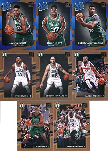 2017-18 Donruss Basketball Boston Celtics Team Set of 8 Cards: Jaylen Brown(#6), Al Horford(#7), Marcus Morris(#8), Gordon Hayward(#10), Kyrie Irving(#26), Guerschon Yabusele(#154), Semi Ojeleye(#164), Jayson Tatum(#198)