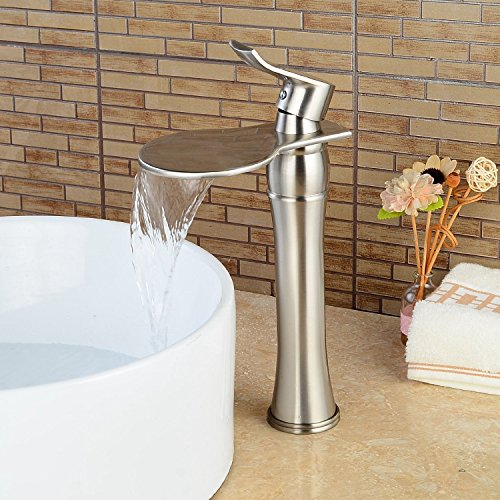 Inchant B029N Contemporary Single Handle Waterfall Bathroom Vanity Sink Vessel Faucet with Unique Large Flat Spout Lavatory Mixer Tap Faucets,Brushed Nickel Deck Mount Commercial Style