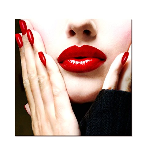 Visual Art Decor Fashion Sexy Woman Red Lip Photograph Picture Canvas Prints Framed and Stretched Poster for Dressing Room Wall Decoration (Red Lips Art Poster)