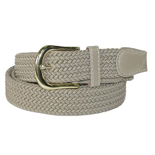 CTM Men's Elastic Stretch Belt with Gold Buckle and Matching Tabs, Small, (Buckle Tab)