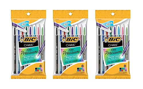 - Bic Corporation 0.7 mm. Cristal Xtra Precision Fine Stic Ballpoint Pen, Assorted, 24 Count