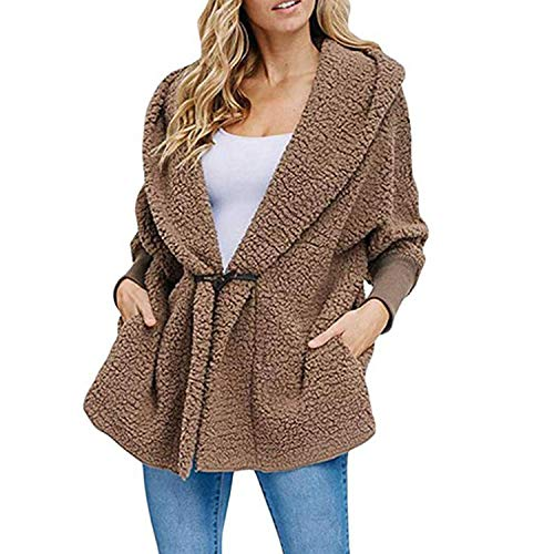 Jacket Women and Winter Long Sleeve Coat Women Pocket Buckle Plush Warm Elegant Clothes,Camel,S