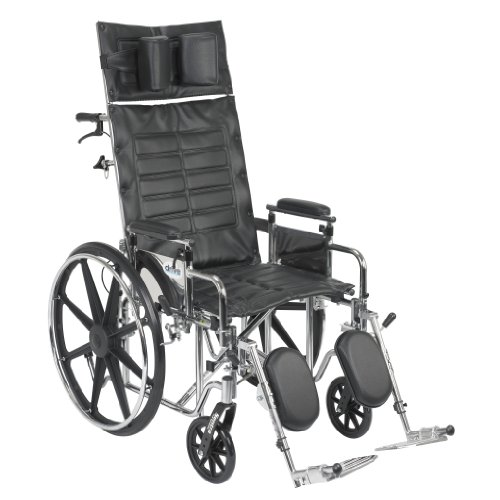 (Drive Medical Sentra Reclining Wheelchair with Various Arm Styles and Elevating Legrest, Chrome, 20 Inch)