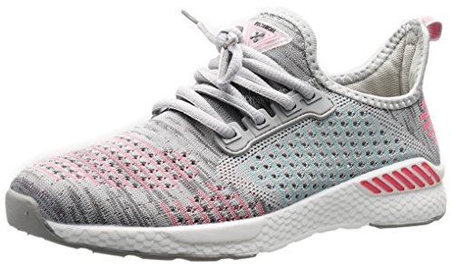 Casual Street Fashion Shoes (PORTANT Womens Breathable Lightweight Jogging Lightweight Shoes Cheap Fashion Working Casual Girls Stylish Training Street Wear Outfit Workout Treadmill Gym Sport Lady Grey Pink White 8.5 B(M) US)