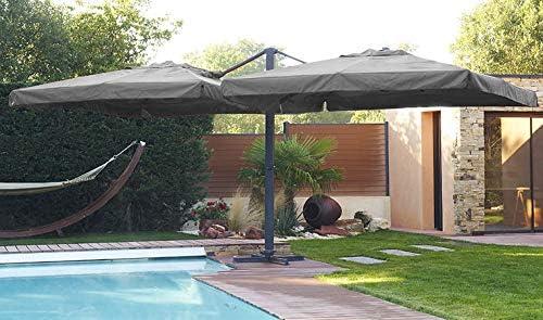 Sombrilla Ibiza compuesto de 2 fondos de 3 x 3 m en aluminio gris antracita y poliéster – gris: Amazon.es: Jardín