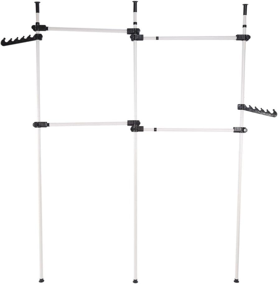Hanging Rail Ejoyous Telescopic Wardrobe Organiser Heavy Duty Portable Garment Rack 4Poles 6Bars Telescopic Coat Hanger Height Adjustable