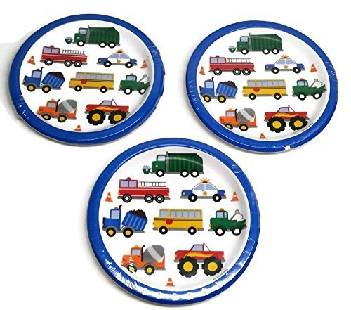 Traffic Jam Birthday Party Plates (24) Party Bundle -