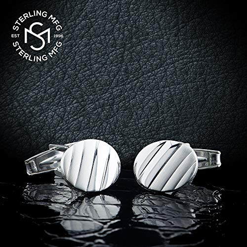 Men's Sterling Silver .925 Oval Striped Design Cufflinks with Satin Finish. Made In Italy. By Sterling Manufacturers by Sterling Manufacturers (Image #2)