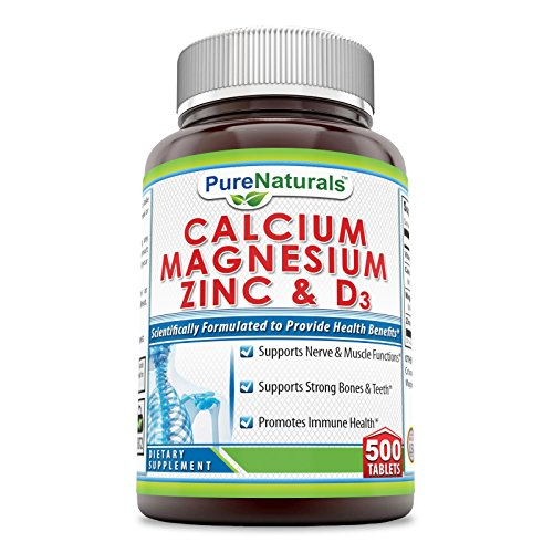 Pure Naturals Calcium Magnesium Zinc + Vitamin D3-500 Tablets –Supports Nerve & Muscle Function*