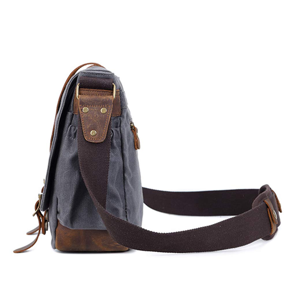 YZ-Hb Canvas Camera Case Small Vintage One-Shoulder Hiking Travel SLR Camera Satchel for Men Gray