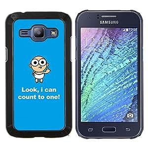 EJOOY---Cubierta de la caja de protección para la piel dura ** Samsung Galaxy J1 J100 ** --Números Cita Bebé Niño Divertido Broma