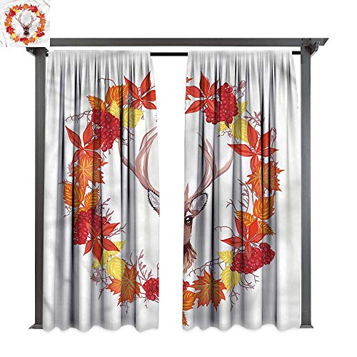 - cobeDecor Thermal Insulated Drapes Fall Autumn Leaves Wreath Art for Lawn & Garden, Water & Wind Proof W120 xL96