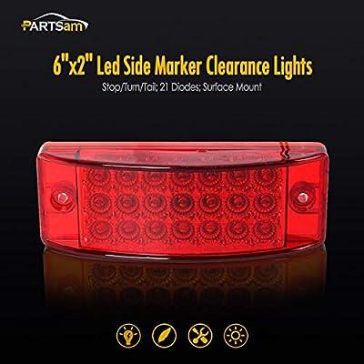 "6/"" 21 LED Sealed Side Marker Clearance Light Trailer Truck 2 Red /& 2 Amber"