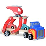 rolimate Toddler Toys for 1 2 Year Old Boy and Girl Gifts Wooden Car Carrier Toys with 1 Truck + 2 Cars + 1 Helicopter