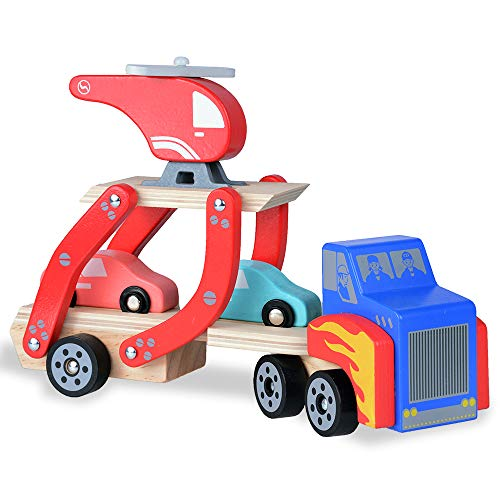 Rlimate Wooden Toddler Toys for Boys and Girls, Assorted Vehicle Playsets for 1 2 Years Old (1 Truck + 2 Cars + 1 Helicopter)
