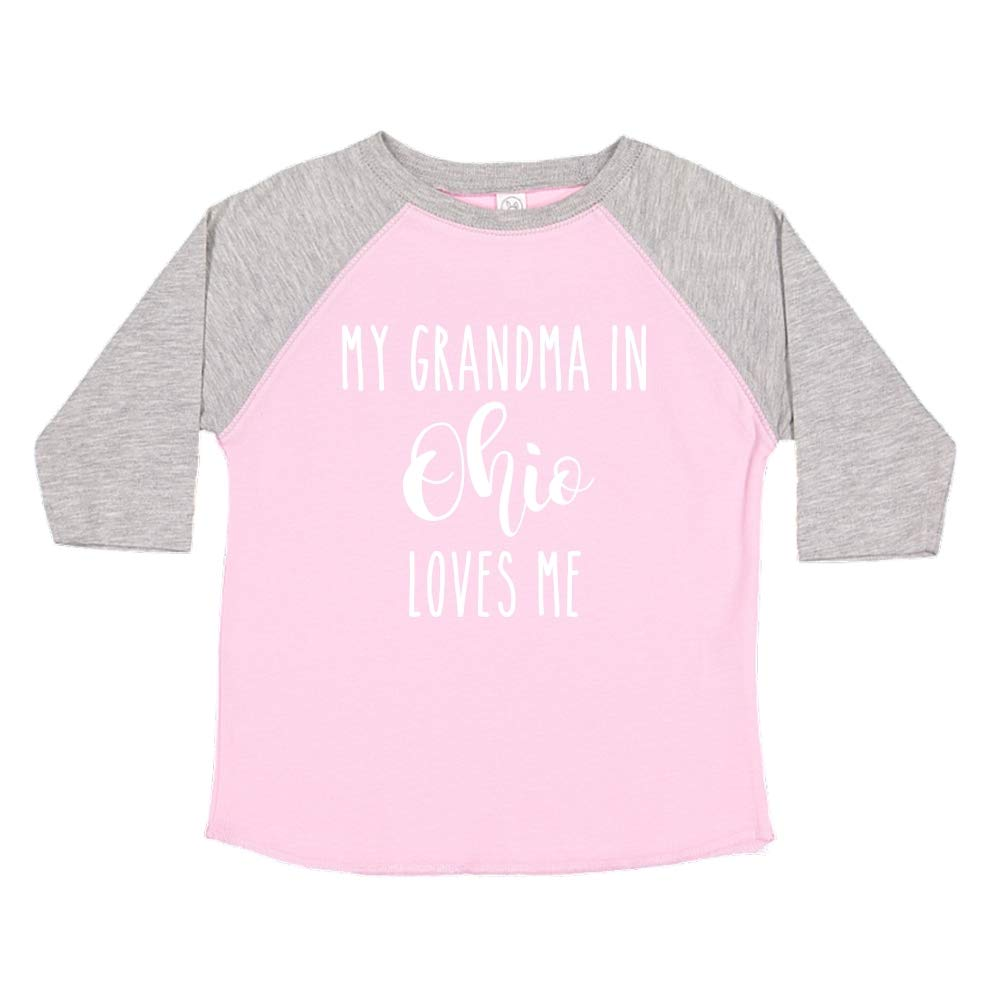 My Grandma in Ohio Loves Me Toddler//Kids Raglan T-Shirt