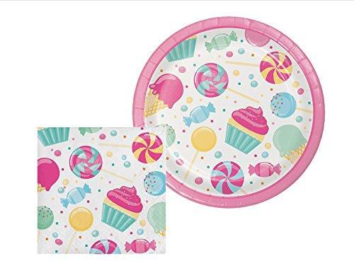 Candy Bouquet Dessert Plates & Napkins Party Kit for 8