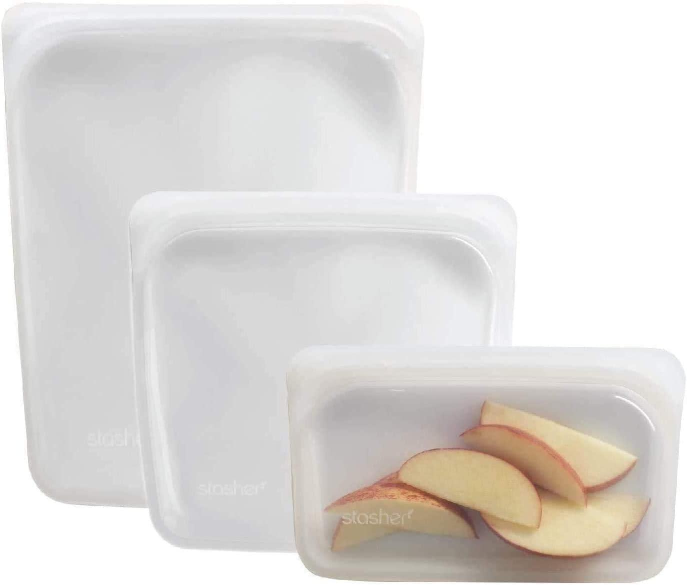 Stasher Reusable Silicone Food Bag, Sandwich Bag, Snack Bag and 1/2 Gallon Bag, Sous Vide Bag, Storage Bag (Clear, 3 Pack)