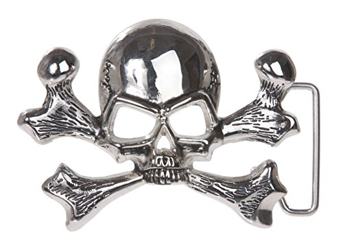 Skull and Cross Bone Pirate Belt Buckle, Shining Silver