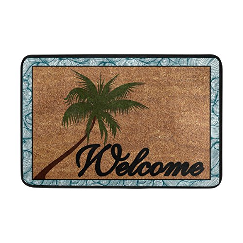 Outdoor Coconut Palm Tree (Naanle Entrance Doormat Beach Coconut Palm Tree Welcome Door Mat Outdoor Indoor Cotton interlayer Polyester Fabric Top 15.7x23.6 Inch)