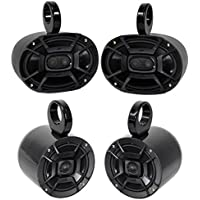 Pair Polk Audio 6X9 + Pair 6.5 Marine Boat Wakeboard Tower Speakers-Aluminum