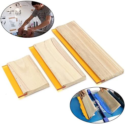 INTBUYING Screen Printing Squeegee Ink Squeegee Scraper 13 inches Long Wooden Scraper 65 Durometer 5.2 inches Wide