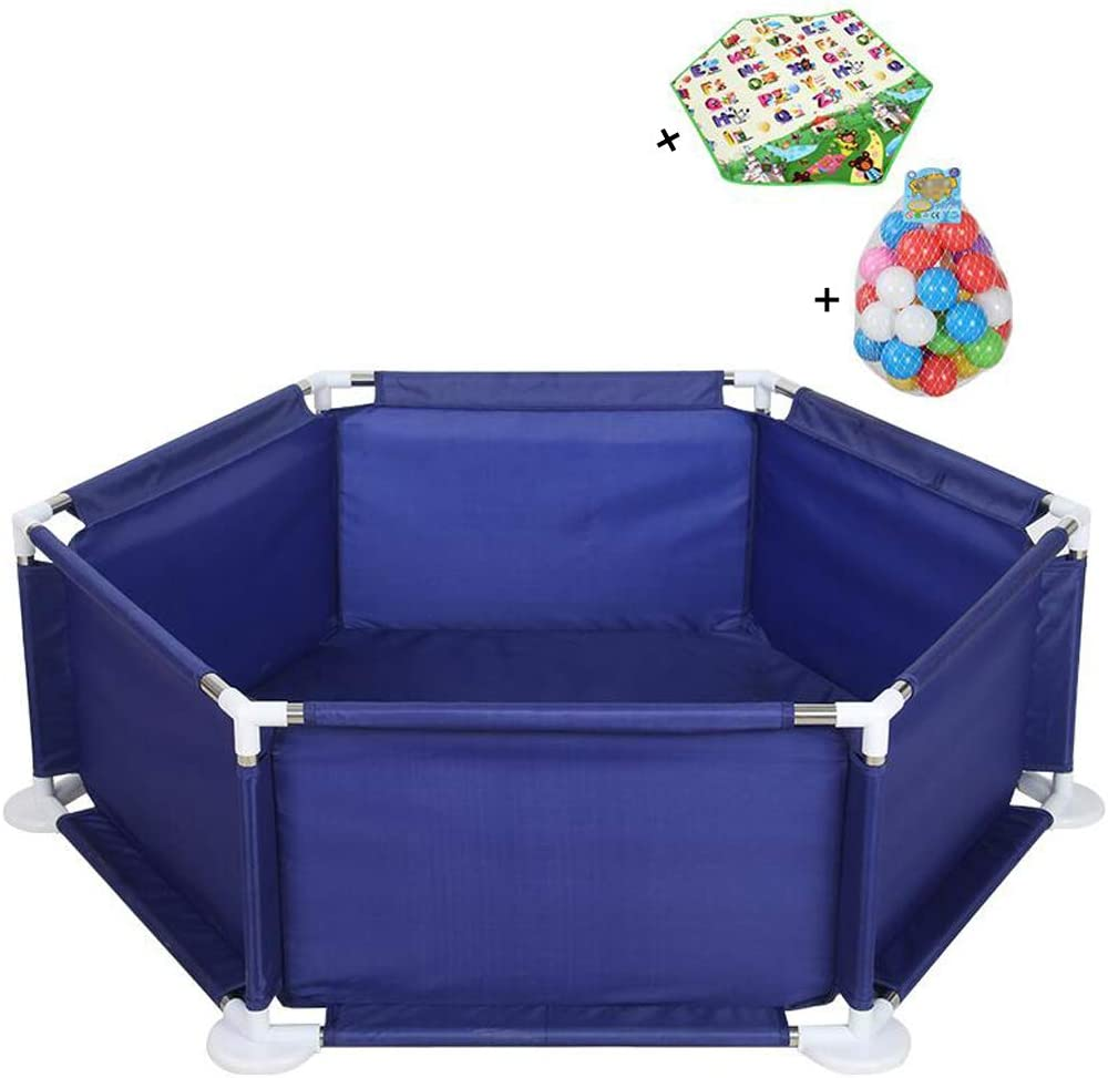 Baby Fence Playyard Tents Infant Playpens Safety Kids Activity Centre (30 Playballs are Included, 1 Hexagonal Pad)