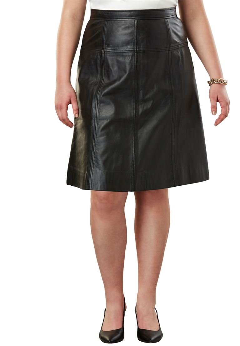 Jessica London Women's Plus Size A-Line Leather Skirt Black,22 W