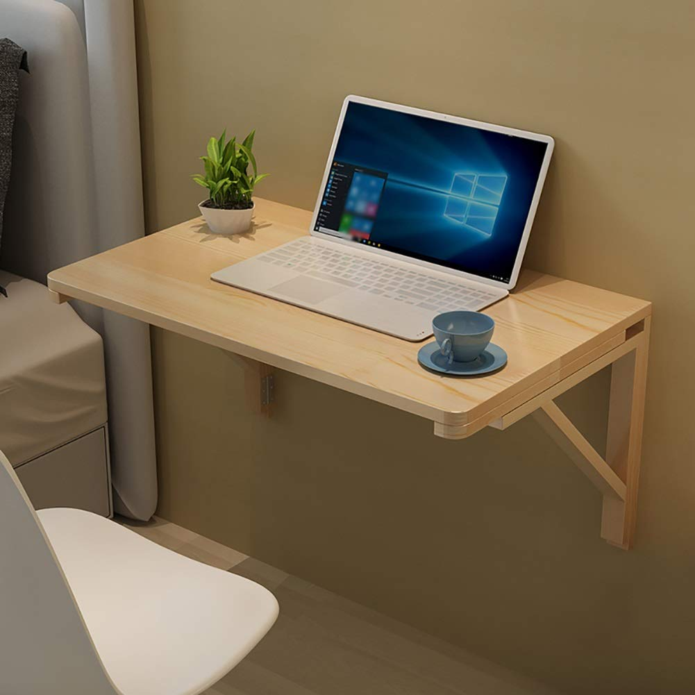 60×40cm Wall-Mounted Collapsible Computer Desk Solid Wood Folding Dining Table Wall Study Table Side Table Size Optional (Size   60×40cm)